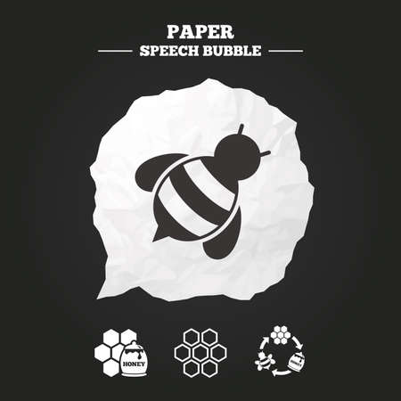 fructose: Honey icon. Honeycomb cells with bees symbol. Sweet natural food signs. Paper speech bubble with icon.