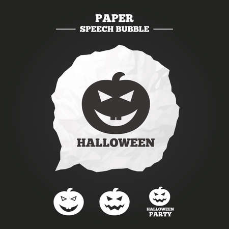 hallows': Halloween pumpkin icons. Halloween party sign symbol. All Hallows Day celebration. Paper speech bubble with icon.