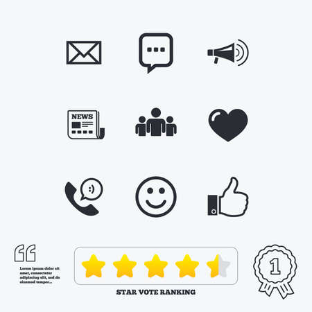 medal like: Mail, news icons. Conference, like and group signs. E-mail, chat message and phone call symbols. Star vote ranking. Award achievement and quotes. Illustration