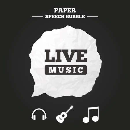 guitarra acustica: Los elementos musicales iconos. clave de la nota musical y símbolos de la música en directo. Auriculares y signos guitarra acústica. burbuja de papel del discurso con el icono.