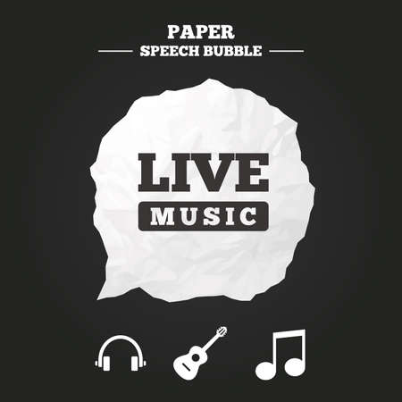 Musical elements icons. Musical note key and Live music symbols. Headphones and acoustic guitar signs. Paper speech bubble with icon.
