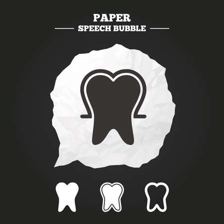 enamel: Tooth enamel protection icons. Dental toothpaste care signs. Healthy teeth sign. Paper speech bubble with icon. Illustration