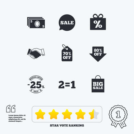 low prizes: Sale discounts icon. Shopping, handshake and cash money signs. 25, 70 and 80 percent off. Special offer symbols. Star vote ranking. Award achievement and quotes.
