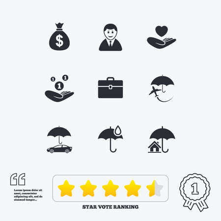 star award: Insurance icons. Life, Real estate and House signs. Saving money, vehicle and umbrella symbols. Star vote ranking. Award achievement and quotes.