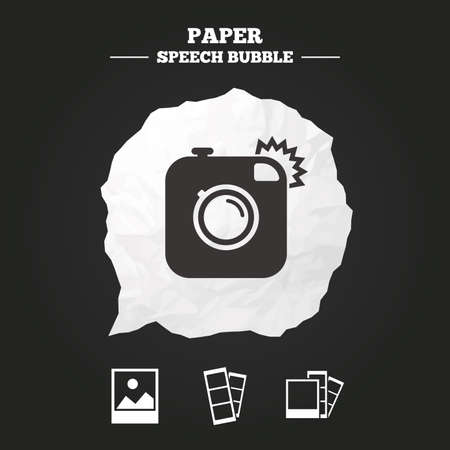 photo paper: Hipster photo camera icon. Flash light symbol. Photo booth strips sign. Landscape photo frame. Paper speech bubble with icon.