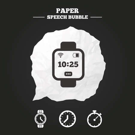 cut wrist: Smart watch icons. Mechanical clock time, Stopwatch timer symbols. Wrist digital watch sign. Paper speech bubble with icon. Illustration