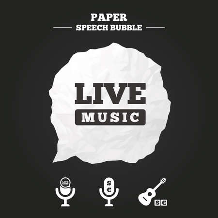 paid: Musical elements icons. Microphone and Live music symbols. Paid music and acoustic guitar signs. Paper speech bubble with icon.