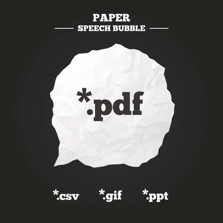 Document icons. File extensions symbols. PDF, GIF, CSV and PPT presentation signs. Paper speech bubble with icon.