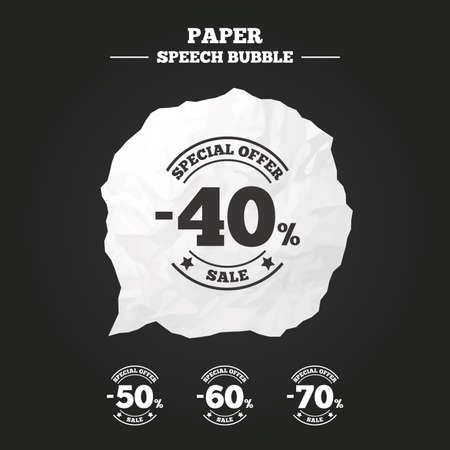 40 50: Sale discount icons. Special offer stamp price signs. 40, 50, 60 and 70 percent off reduction symbols. Paper speech bubble with icon.