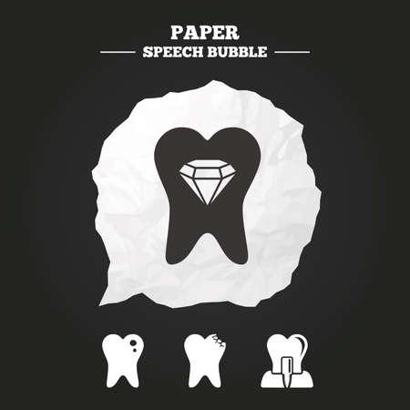 comunicacion oral: Iconos del cuidado dental. Caries signo diente. Diente s�mbolo implante intra�seo. Joyas de cristal de dientes. Burbuja de papel del discurso con el icono. Vectores