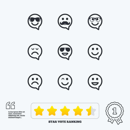 dismal: Smile speech bubbles icons. Happy, sad and wink faces signs. Sunglasses, mustache and laughing lol smiley symbols. Star vote ranking. Award achievement and quotes.