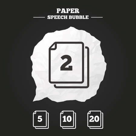 2 5: In pack sheets icons. Quantity per package symbols. 2, 5, 10 and 20 paper units in the pack signs. Paper speech bubble with icon. Illustration