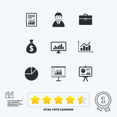 information symbol: Statistics, accounting icons. Charts, presentation and pie chart signs. Analysis, report and business case symbols. Star vote ranking. Award achievement and quotes.