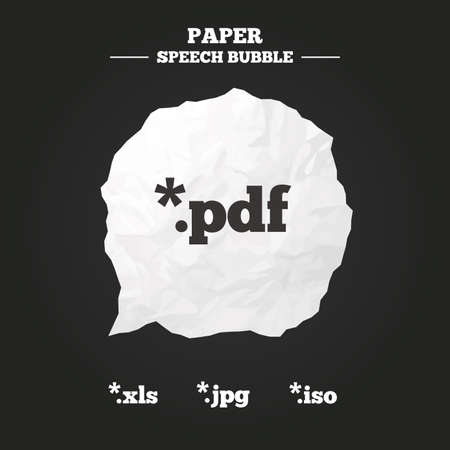 extensions: Document icons. File extensions symbols. PDF, XLS, JPG and ISO virtual drive signs. Paper speech bubble with icon. Illustration