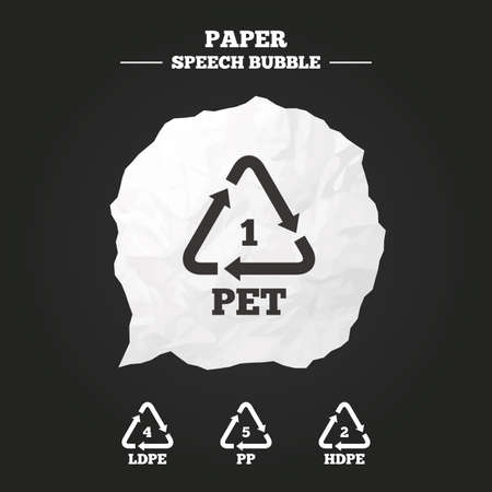 pp: PET 1, Ld-pe 4, PP 5 and Hd-pe 2 icons. High-density Polyethylene terephthalate sign. Recycling symbol. Paper speech bubble with icon.