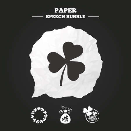 shamrock: Saint Patrick day icons. Money bag with clover sign. Wreath of trefoil shamrock clovers. Symbol of good luck. Paper speech bubble with icon. Illustration