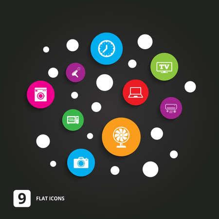 black appliances: Home appliances, device icons. Electronics signs. Air conditioning, washing machine and microwave oven symbols. Flat circle buttons with icons on black. Illustration