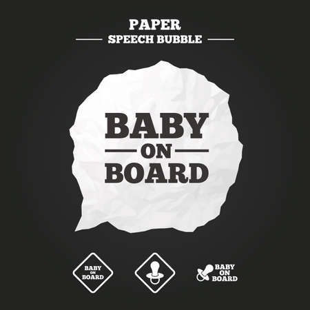 nipple: Baby on board icons. Infant caution signs. Nipple pacifier symbol. Paper speech bubble with icon. Illustration