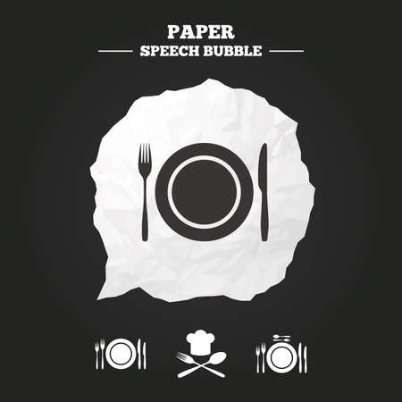 etiquette: Plate dish with forks and knifes icons. Chief hat sign. Crosswise cutlery symbol. Dining etiquette. Paper speech bubble with icon.