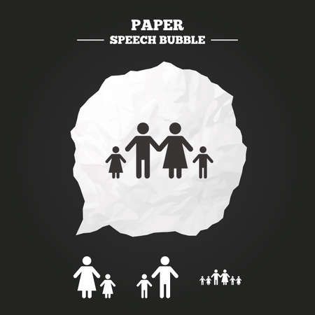 orphan: Large family with children icon. Parents and kids symbols. One-parent family signs. Mother and father divorce. Paper speech bubble with icon.