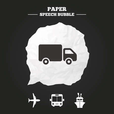 mail truck: Transport icons. Truck, Airplane, Public bus and Ship signs. Shipping delivery symbol. Air mail delivery sign. Paper speech bubble with icon.