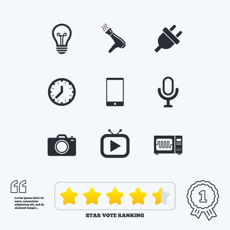 Home appliances, device icons. Electronics signs. Lamp, electrical plug and photo camera symbols. Star vote ranking. Award achievement and quotes.