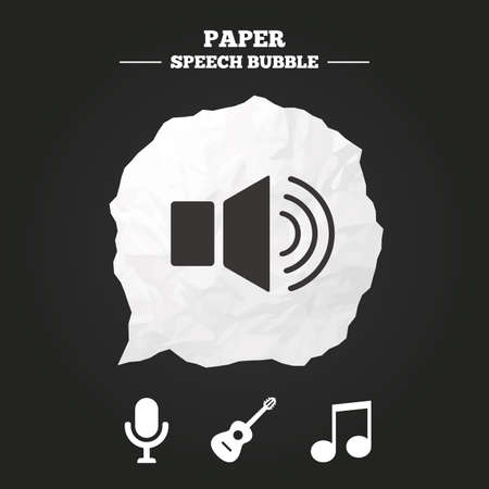 stereo cut: Musical elements icons. Microphone and Sound speaker symbols. Music note and acoustic guitar signs. Paper speech bubble with icon.