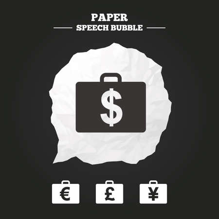 paper case: Businessman case icons. Cash money diplomat signs. Dollar, euro and pound symbols. Paper speech bubble with icon.