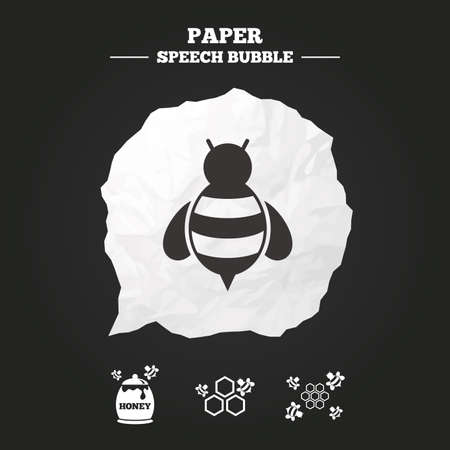 comb out: Honey icon. Honeycomb cells with bees symbol. Sweet natural food signs. Paper speech bubble with icon.
