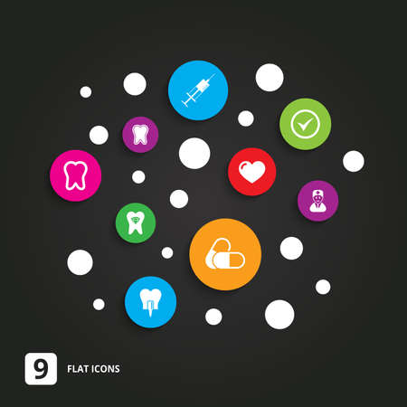 stomatologist: Tooth, dental care icons. Stomatology, syringe and implant signs. Healthy teeth, dentist and pills symbols. Flat circle buttons with icons on black. Illustration
