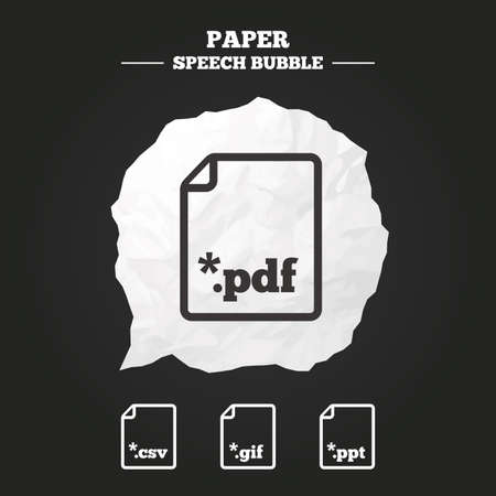 Download document icons. File extensions symbols. PDF, GIF, CSV and PPT presentation signs. Paper speech bubble with icon. Ilustrace