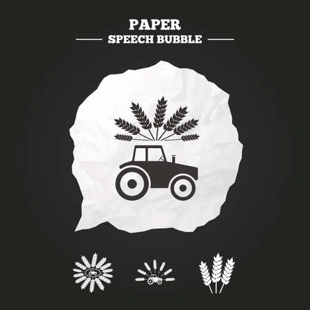 agricultural industry: Tractor icons. Wreath of Wheat corn signs. Agricultural industry transport symbols. Paper speech bubble with icon. Illustration