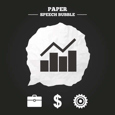 paper currency: Business icons. Graph chart and case signs. Dollar currency and gear cogwheel symbols. Paper speech bubble with icon. Illustration