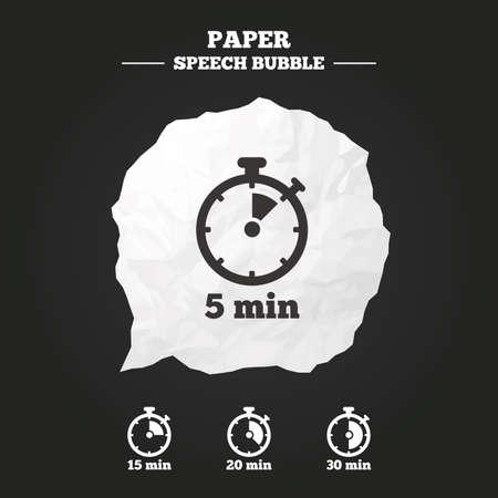cronometro: Los iconos de temporizador. 5, 15, 20 y 30 minutos s�mbolos cron�metro. burbuja de papel del discurso con el icono.