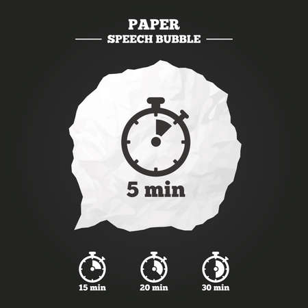 stopwatch: Timer icons. 5, 15, 20 and 30 minutes stopwatch symbols. Paper speech bubble with icon. Illustration