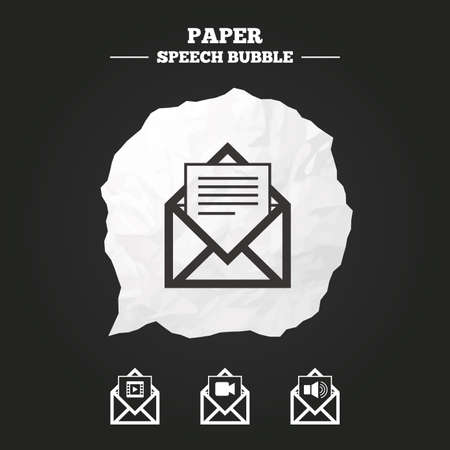 voice mail: Mail envelope icons. Message document symbols. Video and Audio voice message signs. Paper speech bubble with icon. Illustration