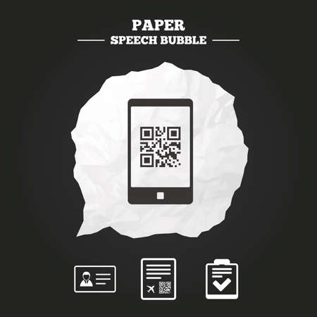 boarding card: QR scan code in smartphone icon. Boarding pass flight sign. ID card badge symbol. Check or tick sign. Paper speech bubble with icon. Illustration