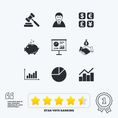 cash icon: Money, cash and finance icons. Handshake, piggy bank and currency exchange signs. Chart, auction and businessman symbols. Star vote ranking. Award achievement and quotes. Illustration