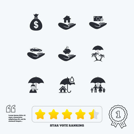 star of life: Insurance icons. Life, Real estate and House signs. Money bag, family and travel symbols. Star vote ranking. Award achievement and quotes. Illustration