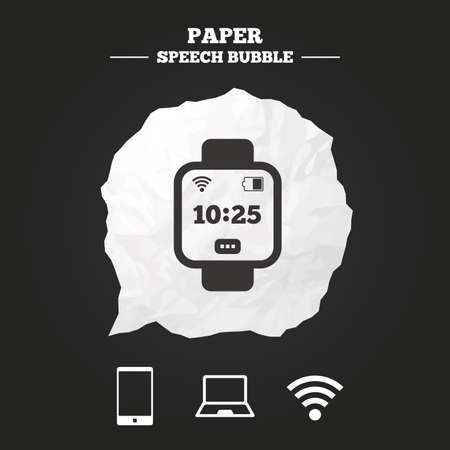 cut wrist: Notebook and smartphone icons. Smart watch symbol