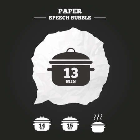 15: Cooking pan icons. Boil 13, 14 and 15 minutes signs. Stew food symbol. Paper speech bubble with icon. Illustration