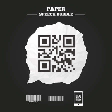 scan paper: Bar and Qr code icons. Scan barcode in smartphone symbols. Paper speech bubble with icon. Illustration