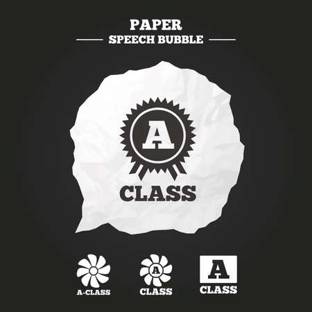 out of use: A-class award icon. A-class ventilation sign. Premium level symbols. Paper speech bubble with icon.