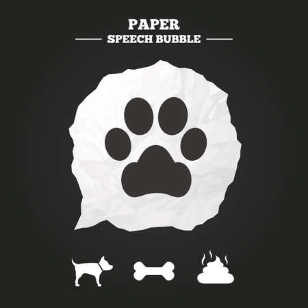 feces: Pets icons. Dog paw and feces signs. Clean up after pets. Pets food. Paper speech bubble with icon.
