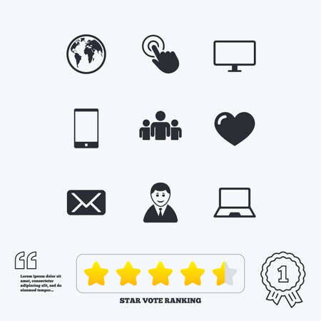 star award: Web, mobile devices icons. Share, mail and like signs. Laptop, phone and monitor symbols. Star vote ranking. Award achievement and quotes.