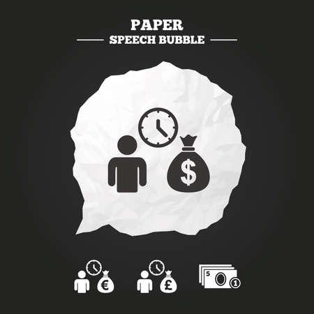 fast money: Bank loans icons. Cash money bag symbols. Borrow money sign. Get Dollar money fast. Paper speech bubble with icon. Illustration