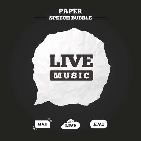 live stream sign: Live music icons. Karaoke or On air stream symbols. Cloud sign. Paper speech bubble with icon. Illustration