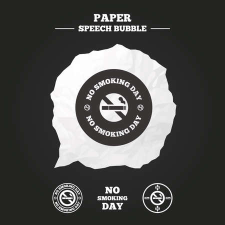 speak out: No smoking day icons. Against cigarettes signs. Quit or stop smoking symbols. Paper speech bubble with icon. Illustration