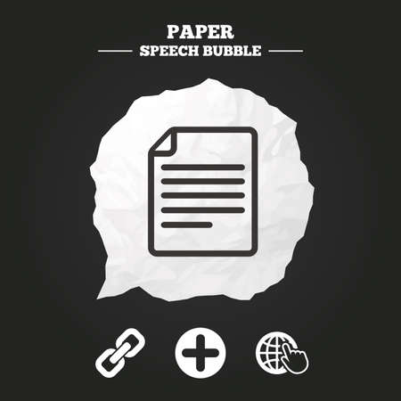 paper chain: Plus add circle and hyperlink chain icons. Document file and globe with hand pointer sign symbols. Paper speech bubble with icon.