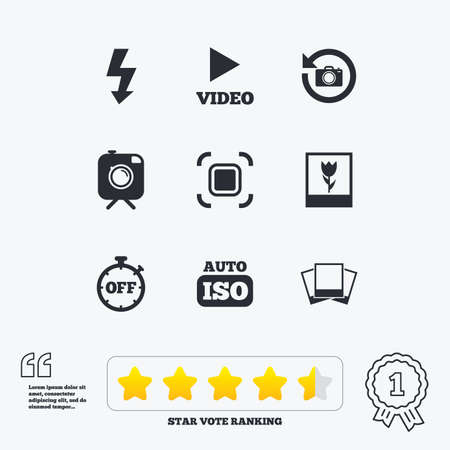 auto focus: Photo, video icons. Camera, photos and frame signs. Flash, timer and macro symbols. Star vote ranking. Award achievement and quotes.